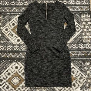 Dynamite grey long sleeve fit and flair work wear dress xs